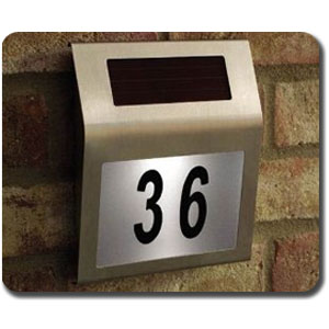 Solar Powered House Number Sign Stainless Steel 180 X 200