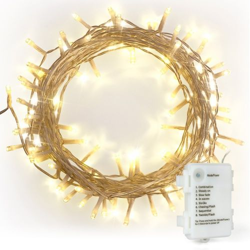 100 Warm White  LED Fairy Lights, 10M-Clear Cable,Battery Operated,Timer Option