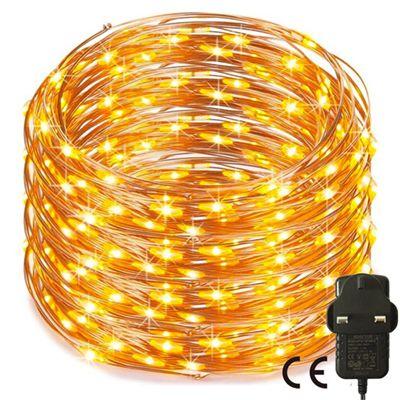 500 Warm White Led 50M Micro Fairy Lights Mains Operated