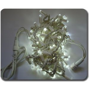 White Outdoor 100 LED Fairy Lights , 10M-White Cable, Static, Connectable